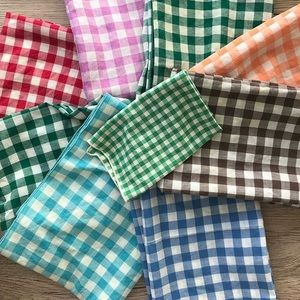 Vintage set of checkered cloths or napkins
